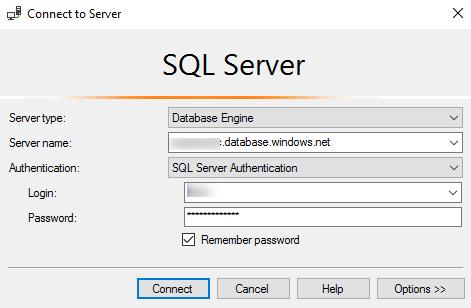 Accessing Azure Database Using Microsoft SQL Server Management Studio