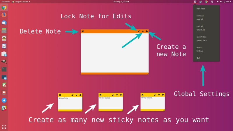 Get sticky notes for Ubuntu with indicator stickynotes