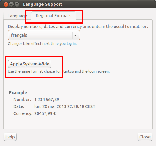 Fix Dates And Numbers Showing In Different Language In Ubuntu 13.04