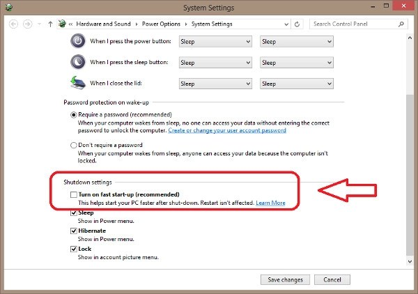 Disable Fast startup in Windows 8