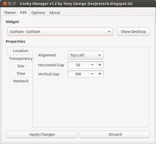 Use Conky in GUI with Conky Manager