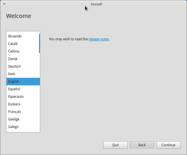 Choose Language in Elementray OS Luna installation