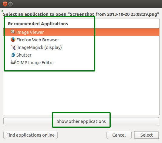Add an application in the list of right click option in Ubuntu