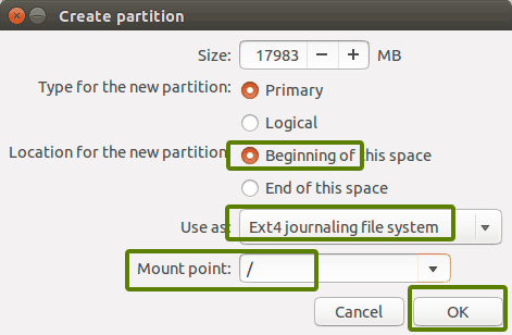Creating partition for Ubuntu installation