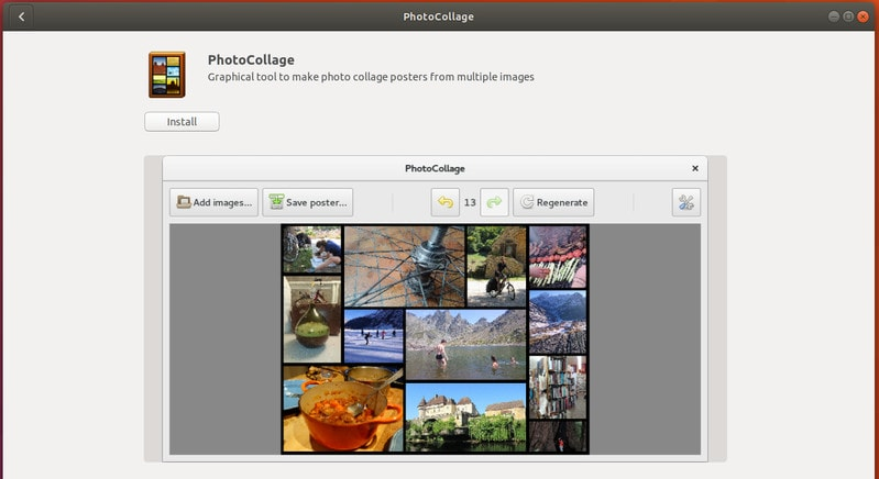 PhotoCollage collage maker in Ubuntu Linux