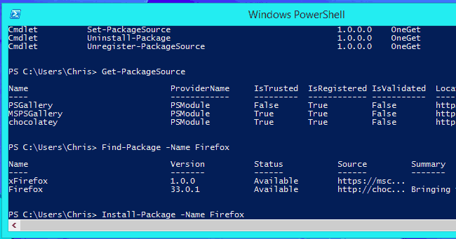 Windows 10 package manager