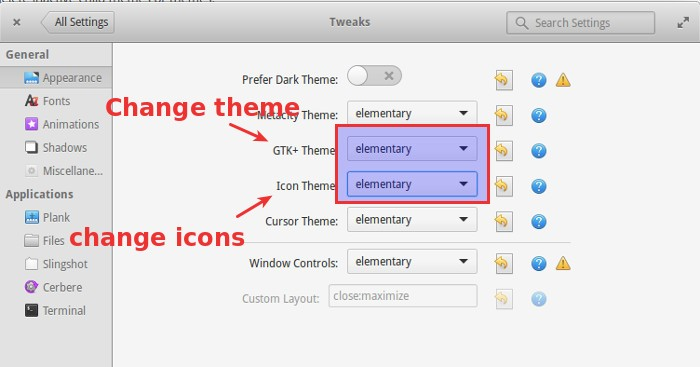 change themes in Elementary OS Freya