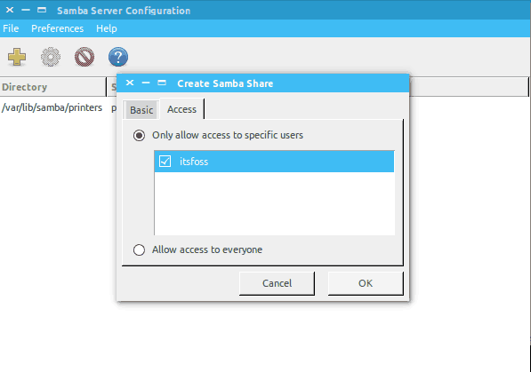 setting up permissions for sharing folder on network