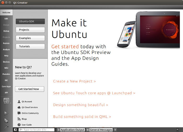 Ubuntu SDK Welcome Screen