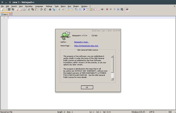 Notepad++ for Linux using Snap