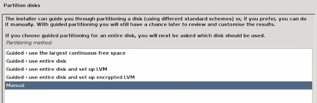 create partition to install debian