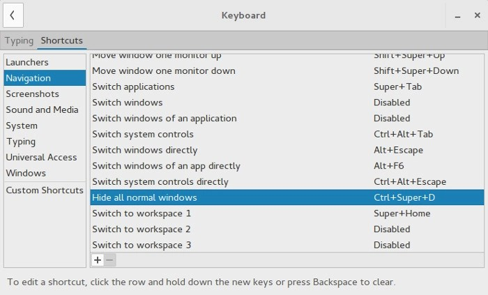 Keyboard shortcut edit in GNOME
