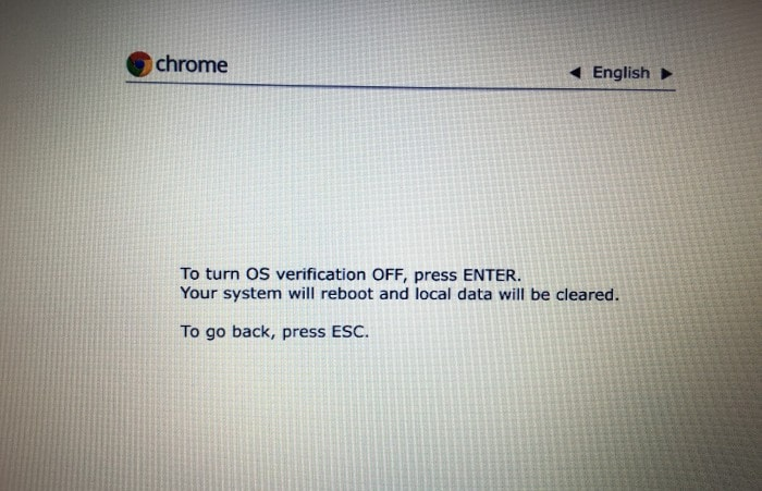 Turn OS verification off in Chromebook