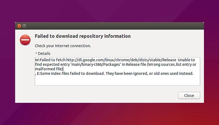 Failed to fetch error Google Chrome