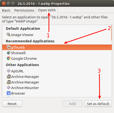 Set gThumb the default application for WebP images in Ubuntu Linux