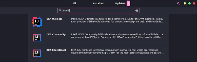 Installing IntelliJ IDEA is available in Ubuntu via the Software Center
