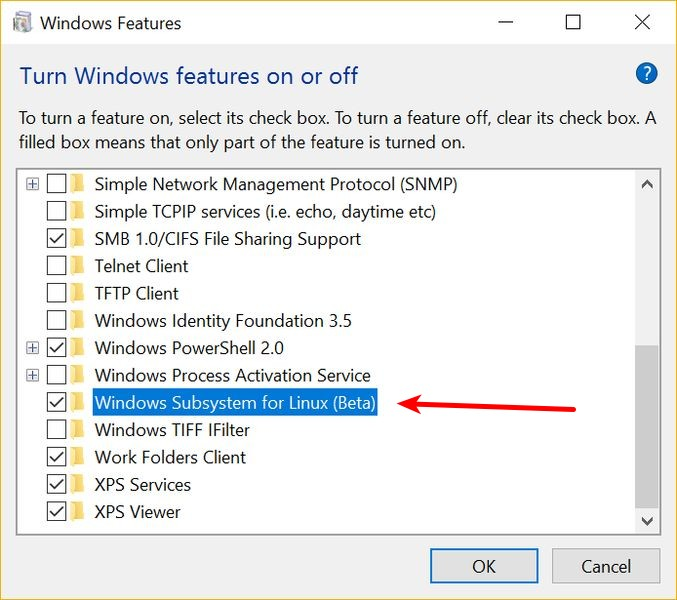 enable bash on Windows 10
