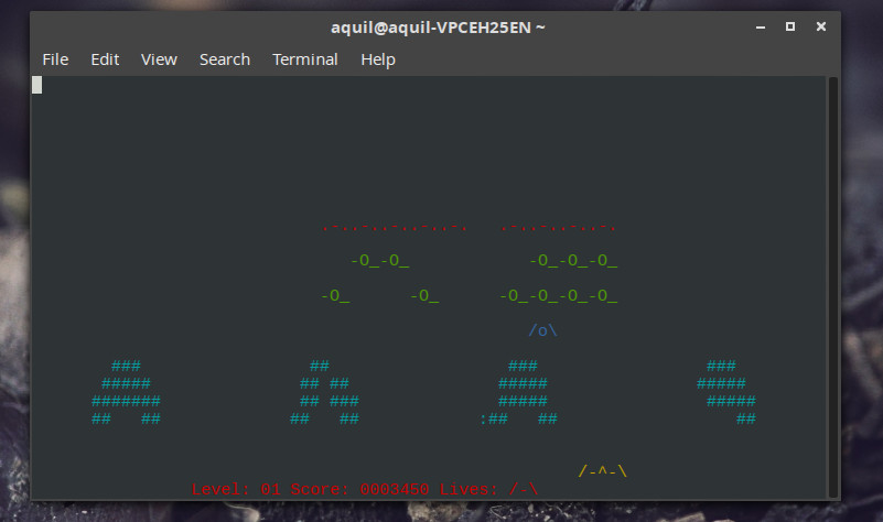 nInvaders command line game in Linux