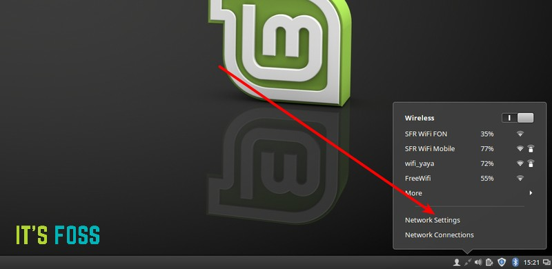 Access network settings in Linux Mint