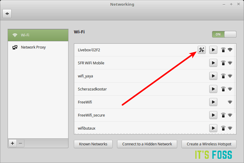 Select the network in Linux Mint