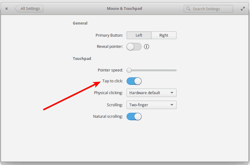 enable tap to click in elementary OS Loki