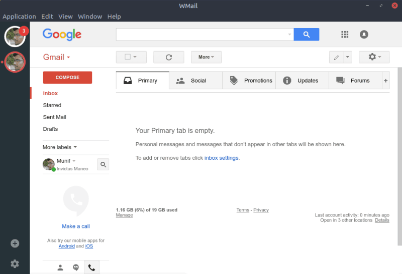 WMail with Gmail account
