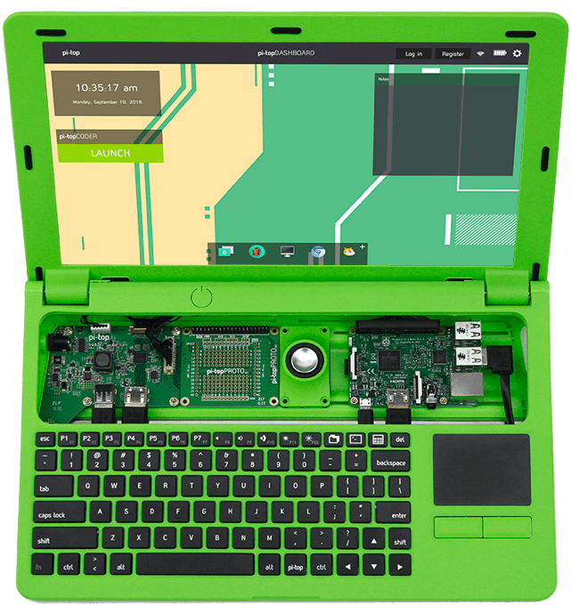 Raspberry Pi powered PiTop laptop