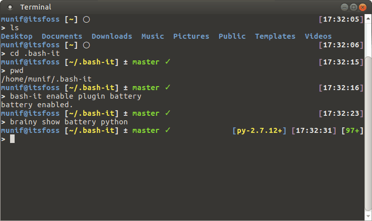 Terminal with Bash-it & Brainy theme