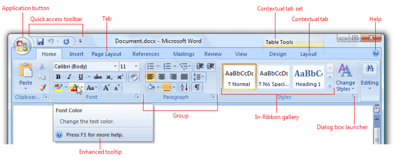 MS Office Ribbon interface