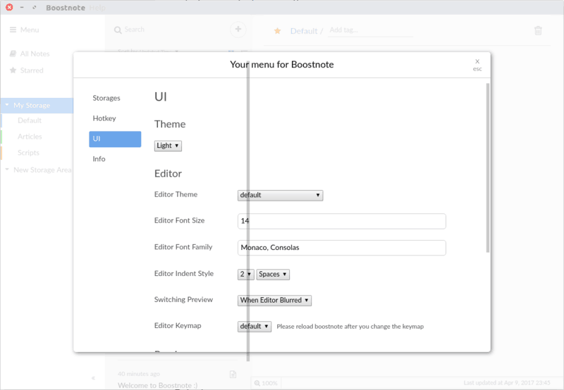 UI and editor theme change in Boostnote