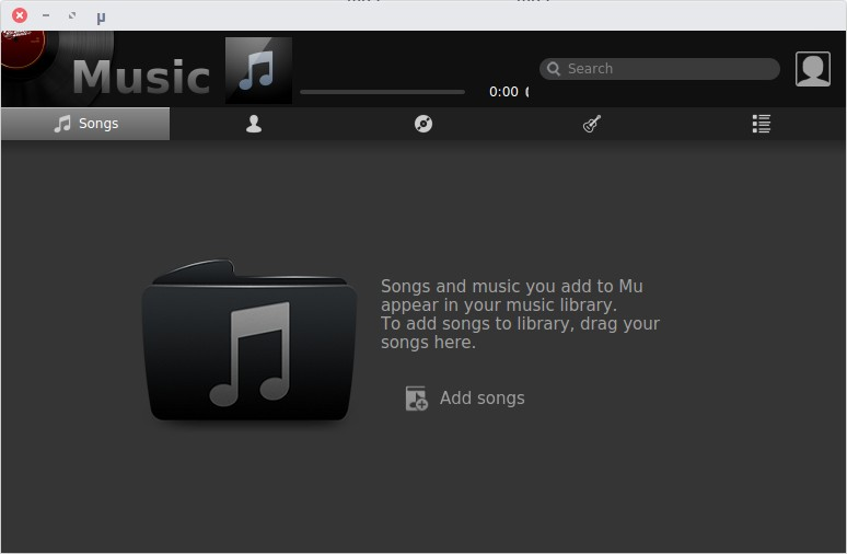 Mu Music player interface