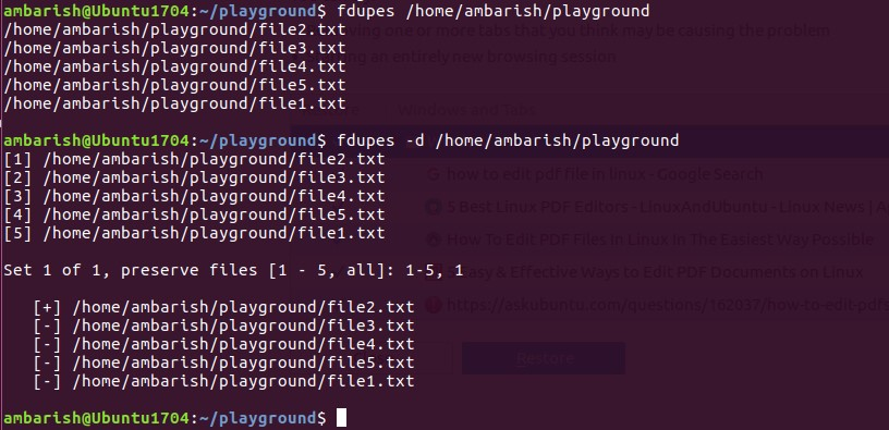 fdupes command line tool to find duplicate files in Ubuntu Linux