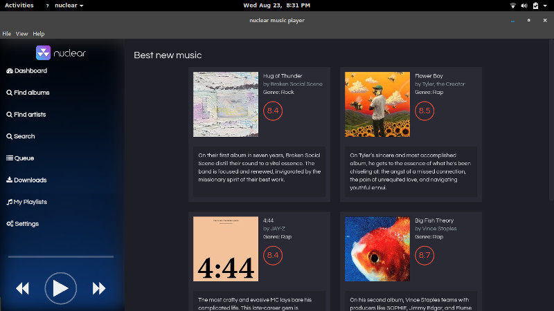 Nuclear Music Player for Multi Source Music Streaming in Linux