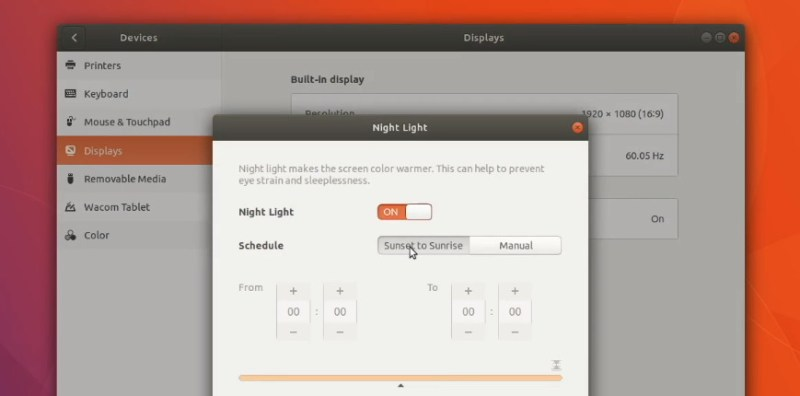 Enabling night light is a must to do in Ubuntu 17.10