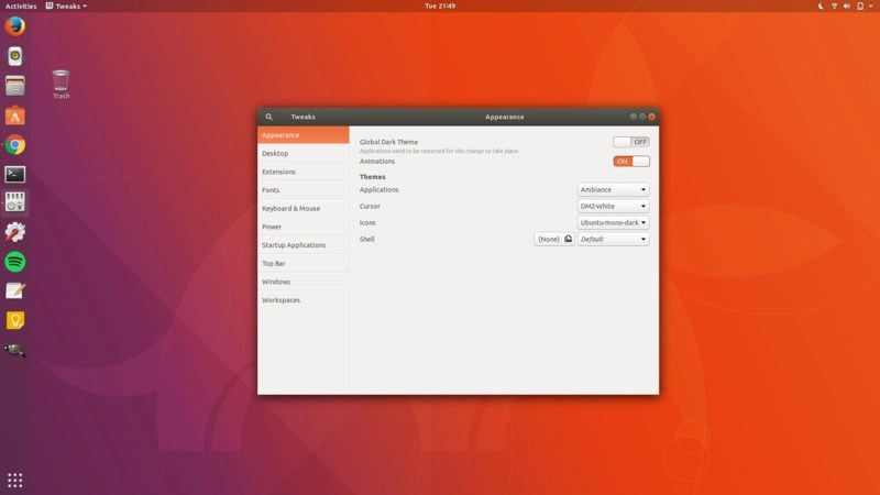 Ubuntu 17.10 default look