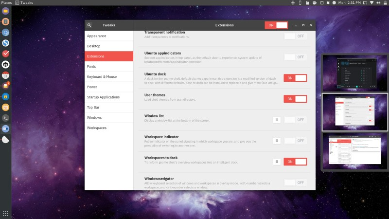 Workspaces to Dock GNOME Extension in Ubuntu