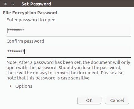 Password protect files using LibreOffice