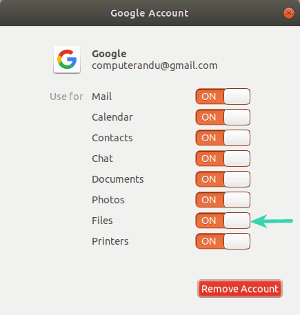 Enable Google Drive in GNOME