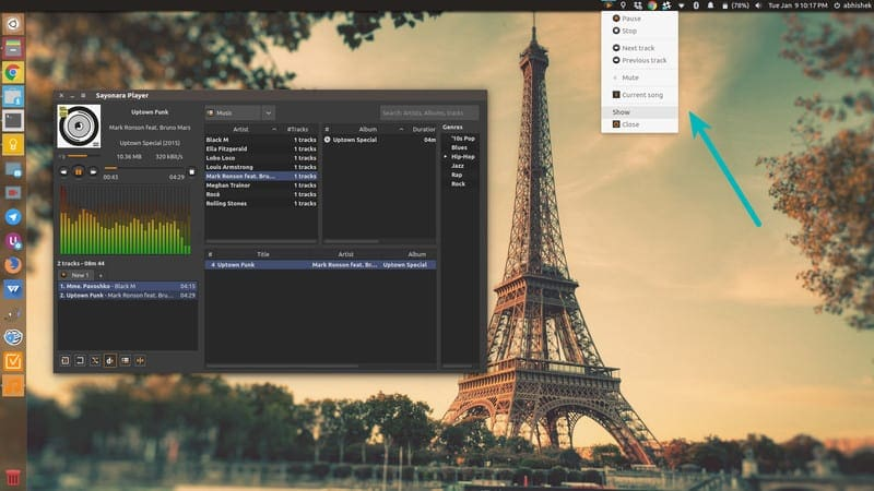 Sayonara music player for Linux