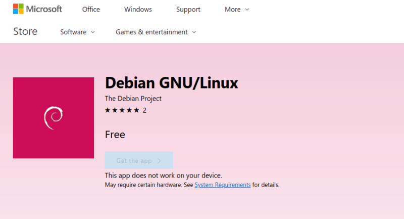 Debian available on Microsoft Store