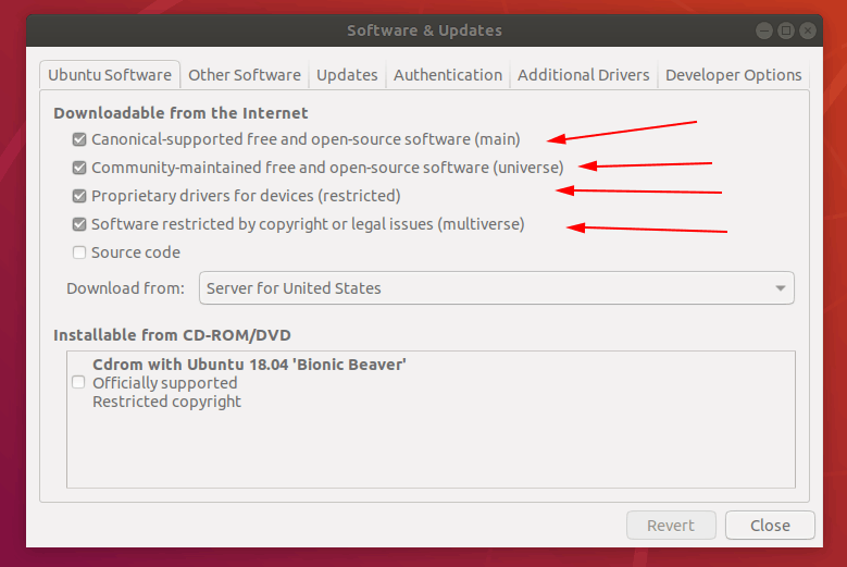 Setting repositories in Ubuntu 18.04