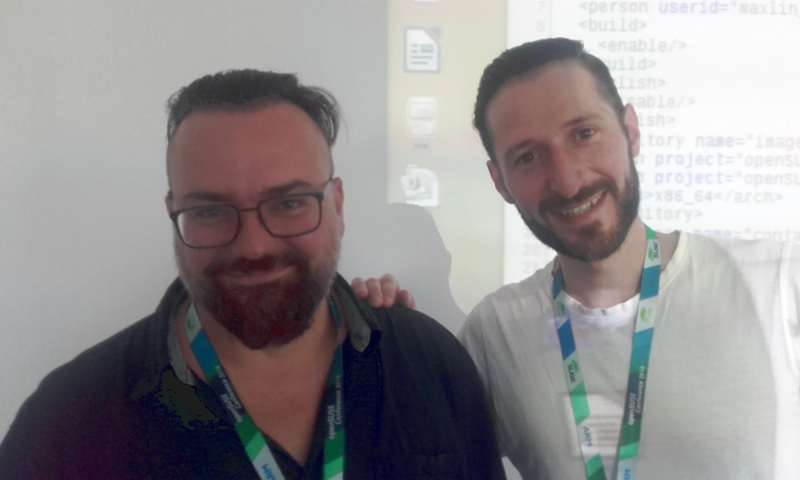 Frank (left) and Wolfgang after their OBS workshop at openSUSE conference 2018