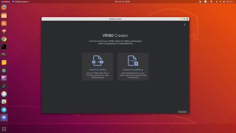 VR180 Creator on Ubuntu Linux