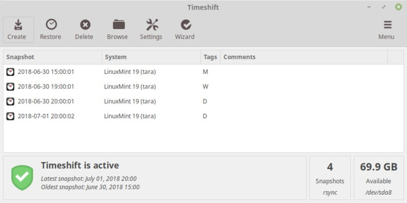 Creating snapshots with Timeshift in Linux Mint 19