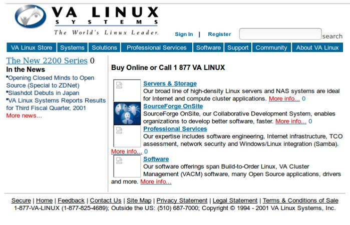 On June 26, 2001, they transitioned from hardware to software | valinux.com as on June 22, 2001