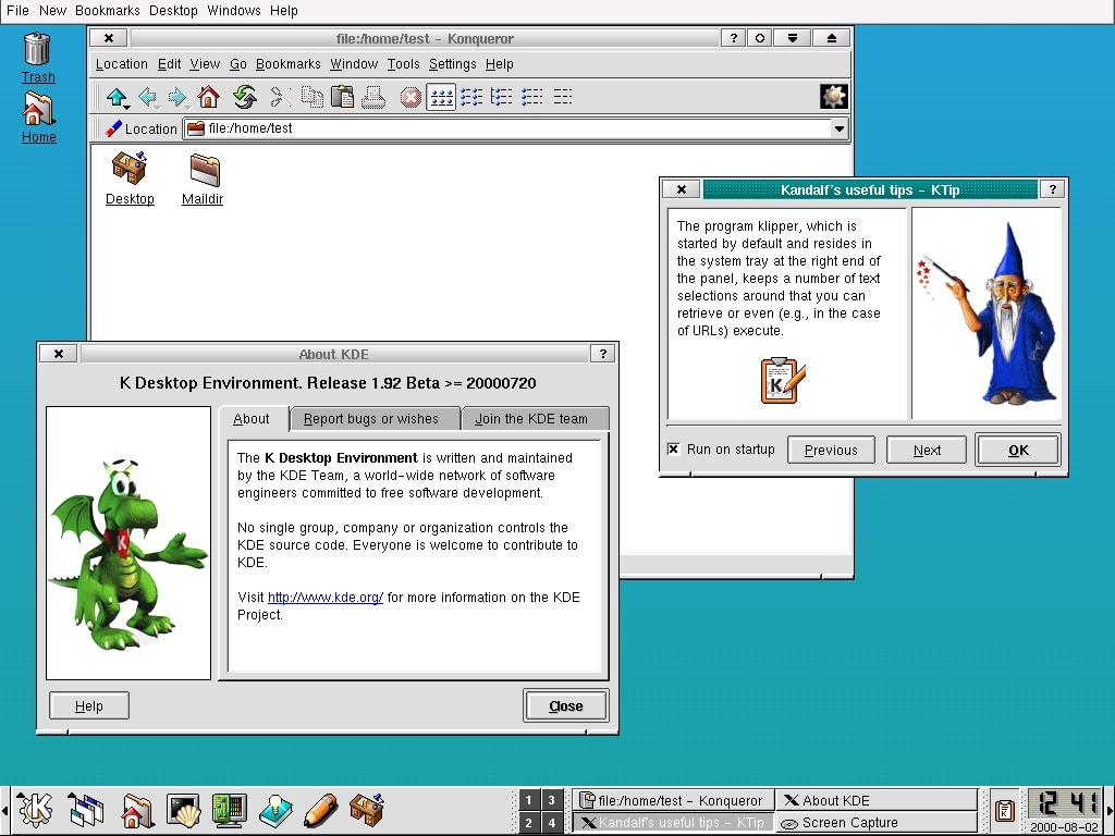 Screenshot of earlier version of KDE desktop