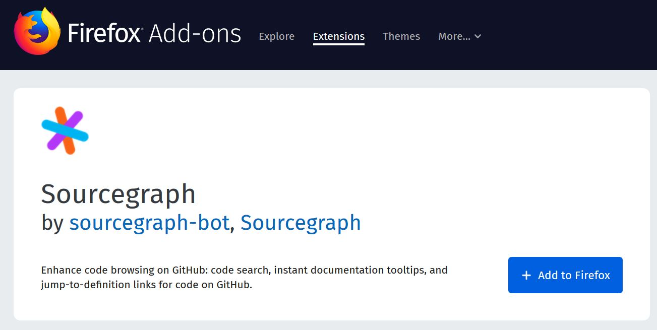 Sourcegraph Firefox add-on