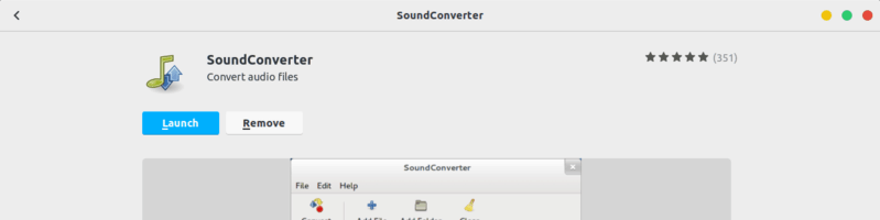 SoundConverter application in Software Center of Ubuntu