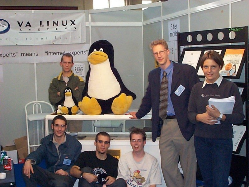 VA Linux Team at a conference