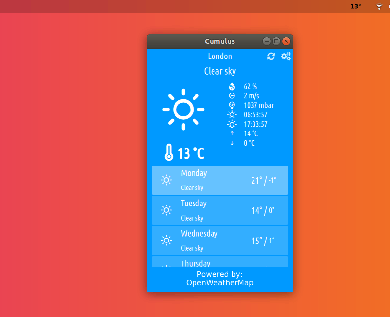 Cumulus Weather App UI